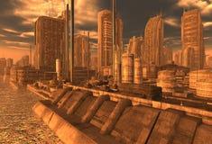 Toekomstige Cityscape 3D Illustratie Stock Afbeeldingen