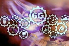 Toekomstige Communicatie Snelle Technologie 6G het Concept van de Netwerkverbinding Hoge snelheids Mobiele Draadloze Technologie royalty-vrije illustratie