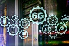 Toekomstige Communicatie Snelle Technologie 6G het Concept van de Netwerkverbinding Hoge snelheids Mobiele Draadloze Technologie vector illustratie