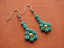 Toekomstige oorringen in de vorm van bloemen, met de hand gemaakte juwelen Stock Fotografie