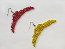 Toekomstige oorringen in de vorm van hangers, met de hand gemaakte juwelen Stock Afbeeldingen