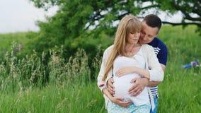 Toekomstige ouders Een zwangere vrouw met haar echtgenoot die in het park koesteren stock footage