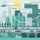 Toekomstige stad in koude kleuren Stock Afbeeldingen