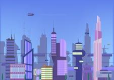 Toekomstige stads vlakke illustratie stedelijk cityscape malplaatje met moderne gebouwen en futuristisch verkeer Banner voor Web royalty-vrije illustratie