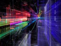 Toekomstige stadsstraat - abstract digitaal geproduceerd beeld Stock Fotografie