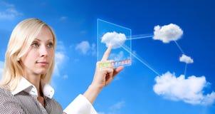 Toekomstige wolk gegevensverwerking stock afbeeldingen