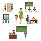 Toelating aan school, die klasgenoten, thuiswerk, lessen, kennisaanwinst samenkomen vector illustratie