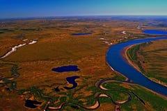Toendra van het Taimyr-Schiereiland in de lente van meningen van een helikopter Stock Foto