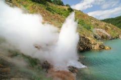 Toendra, vulkaan, zonsondergang Stock Foto's
