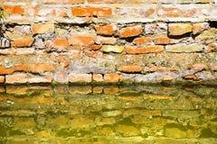 Toenemend vocht op een bakstenen muur in een kanaalhoogtepunt van water stock afbeelding