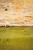 Toenemend vocht op een bakstenen muur in een kanaalhoogtepunt van water royalty-vrije stock foto's
