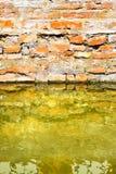 Toenemend vocht op een bakstenen muur in een kanaalhoogtepunt van water stock afbeeldingen