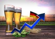 Toenemende bierconsumptie in Duitsland 3d geef terug Royalty-vrije Stock Foto