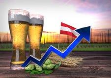Toenemende bierconsumptie in Oostenrijk 3d geef terug Royalty-vrije Stock Afbeelding