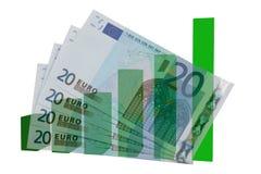 Toenemende Europese munt Royalty-vrije Stock Afbeeldingen