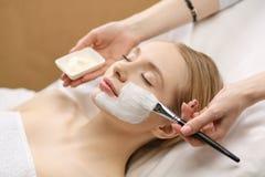 Toepassing van het kuuroord de gezichtsmasker Organische gezichts het maskertoepassing van de kuuroordschoonheid bij day spa salo stock foto