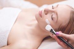 Toepassing van het kuuroord de gezichtsmasker Organische gezichts het maskertoepassing van de kuuroordschoonheid bij day spa salo stock afbeelding