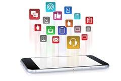 Toepassingen die in smartphoneapparaat downloaden stock afbeelding