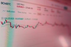 Toepassingsinterface voor Bitcoin-cryptocurrency handel Foto van het computerscherm vluchtigheid van cryptocurrencies stock foto's