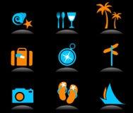 Toerisme en vakantiepictogrammen en emblemen - 3 Stock Fotografie