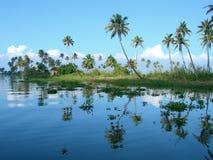 Toerisme in India, weelderige vegetatie in Kerala Royalty-vrije Stock Foto's