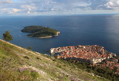 Toerisme in Kroatië/het Eiland van Dubrovnik en Lokrum- Royalty-vrije Stock Fotografie