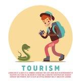 Toerisme mannelijke toerist en slang royalty-vrije illustratie