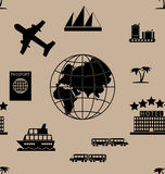 Toerisme naadloos patroon Stock Afbeelding