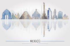 Toerismeconcept met de Historische Architectuur van Mexico stock illustratie