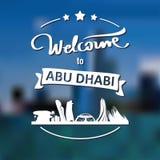Toerismeetiket met horizon, tekstonthaal aan Abu Dhabi royalty-vrije stock afbeelding