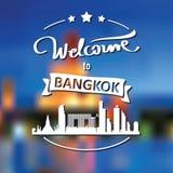 Toerismeetiket met horizon, tekstonthaal aan Bangkok royalty-vrije stock afbeelding