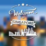 Toerismeetiket met horizon, tekstonthaal aan Singapore royalty-vrije stock foto's