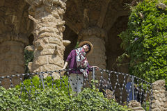 Toerist bij Guell-Park, Barcelona stock foto