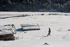 Toerist bij Yumthang-Vallei royalty-vrije stock foto's
