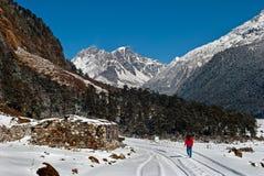 Toerist bij Yumthang-Vallei royalty-vrije stock fotografie