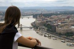 Toerist in Boedapest royalty-vrije stock fotografie