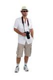 Toerist in borrels met camera stock foto
