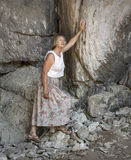 Toerist in de bergen royalty-vrije stock foto's