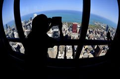 Toerist de Van de binnenstad Fisheye van Chicago om Wereld royalty-vrije stock afbeelding