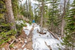 Toerist die met rugzak op sneeuwsleep wandelen Royalty-vrije Stock Foto