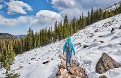 Toerist die met rugzak op sneeuwsleep wandelen Stock Foto