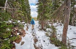Toerist die met rugzak op sneeuwsleep wandelen royalty-vrije stock afbeeldingen