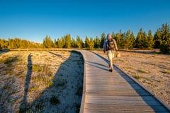 Toerist die met rugzak in Yellowstone wandelen Stock Afbeeldingen