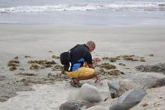 Toerist het beachcombing bij schemer Royalty-vrije Stock Afbeelding
