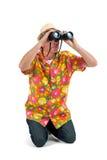 Toerist met binoculair royalty-vrije stock afbeelding