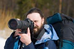 Toerist met de grote camera royalty-vrije stock afbeelding