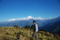 Toerist in Nepal stock afbeelding