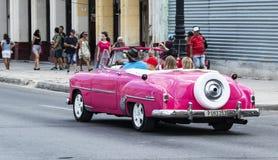 Toerist in uitstekende roze Chevy convertibel in Havana Cuba wordt gedreven die royalty-vrije stock fotografie