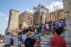 Toeristen bij de Akropolis van Griekenland van Athene Royalty-vrije Stock Fotografie