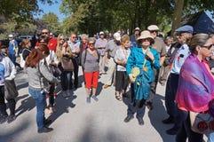 Toeristen bij de Chenonceau-Kasteelgronden stock foto's
